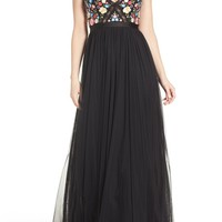 Needle & Thread Flower Foliage Tulle Gown | Nordstrom
