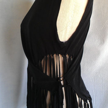 Black One-Of-a-Kind Turtleneck  Fringe Top