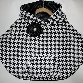 Poncho, Toddler Poncho, Baby Poncho.  Houndstooth Wool Blend Poncho for Girls