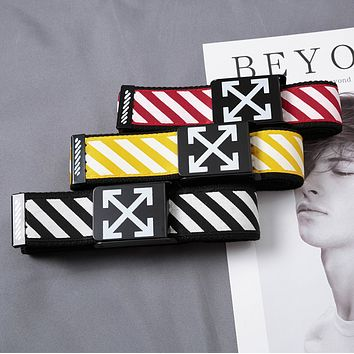 Off White New fashion stripe arrow print canvas belt 110cm