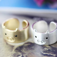 1piece Pig Ring Simple Animal Wide Open Band Ring Jewelry Wrap Ring Size 7.5 US