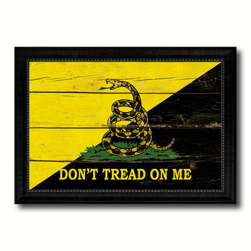 Gadsden Don't Tread on Me Military Flag Vintage Canvas Print with Black Picture Frame Home Decor Wall Art Decoration Gift Ideas