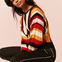 Stripe Dolman-Sleeve Sweater