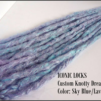 3 Sky Blue Lavender blend Knotty dreadlock extensions. Made to Order.