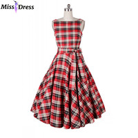 Women Summer Dresses 2016 Retro Audrey Hepburn Classic Sleeveless Plaid Party Robe Rockabilly 50s 60s Vintage Dresses MISSDRESS