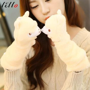 Cute cartoon animals flip cover alpaca gloves
