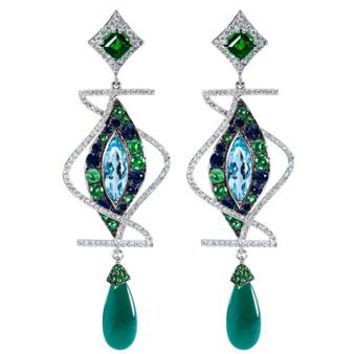 DIONEA ORCINI | Linee Misteriose Diamond Earrings | brownsfashion.com | The Finest Edit of Luxury Fashion | Clothes, Shoes, Bags and Accessories for Men & Women