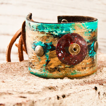 Fashion Cuff Bracelet Leather Wristband Boho Gypsy Chic Jewelry OOAK Gifts For Her Christmas December Gift On Sale