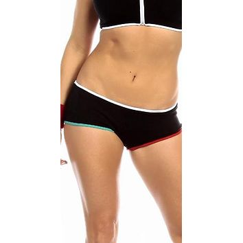 Sexy Neon Trim Low Rise Fourth Dimension Athletic Stretch Comfort Shorts - Black/White/Teal/Red