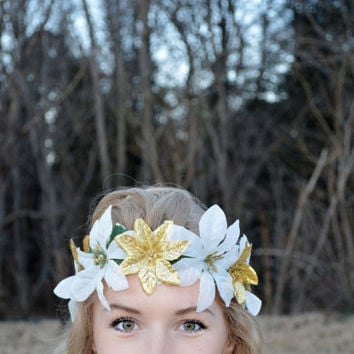 Sparkling Gold and White Poinsettia Flower Crown Festive Fashion Headpiece Christmas Hair Wreath Headwrap Boho Hippie Floral Halo