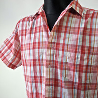 Vintage Men's 60's/70's Plaid Shirt by Bud Burma Red and White Size M Short Sleeve