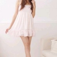 Wholesale Fashion Sexy Pure Color Back Naked Strap Dress Pink
