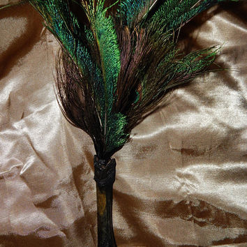 Feather & Real Bone Smudge Wand - Deer Bone with Peacock Feathers Smudge Fan - Feather Wand - Smudge Tools - Occult Tools - Witchcraft Wands
