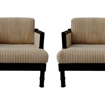 Faux-Bamboo   Lounge Chairs, Pair