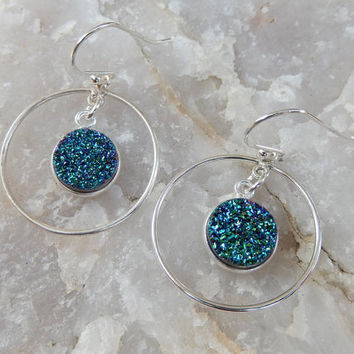 Teal Druzy Earrings Sterling Silver Chandelier Green Peacock Round Circle Drusy Quartz Drops - Free Shipping Jewelry