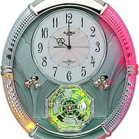 0-002606>Amazing Carina Musical Wall Clock Silver and Crystal