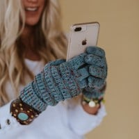 Knitted Texting Gloves - Denim Blue