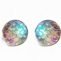 Dragon Skin Scales Iridescent Stud Earrings / Stainless steel hypoallergenic