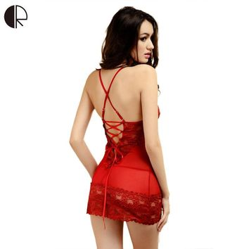 Sexy Sleepwear Female Temptation  Dress Women's Summer Lace Nightgown Spaghetti Strap Belt Underwear