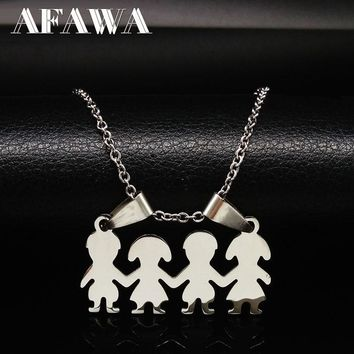 2018 Best Friends Pendant Necklaces Stainless Steel Jewelry Boy Girl Hand In Hand Necklace For Women Kids Children Gifts N3105