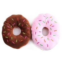 New Arrival Lovely Pet Dog Puppy Cat Squeaker Quack Sound Toy Chew Donut Play Toys BI8K