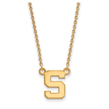 NCAA 14k Gold Plated Silver Michigan State Small 'S' Pendant Necklace