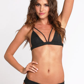 2014 Kai Lani Swimwear Bralet Top in Black Suede