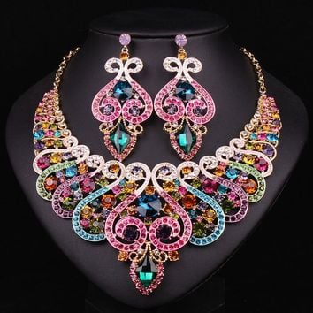 Multi color crystal statement necklace