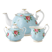 Royal Albert Polka Blue Teapot/ Sugar/ Creamer Set