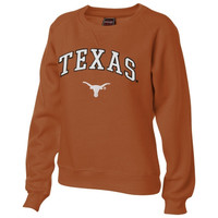 Texas Longhorns Women's Burnt Orange Tackle Twill Crewneck Sweatshirt