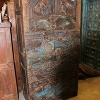 Antique Armoire Cabinet Wood Carving Stunning Original Art Double Door Wardrobe