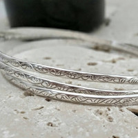 Vintage Sterling Silver 925 Intertwining Multi-strand Etched Bangle Bracelet - Boho Retro Chic / Art Deco Nouveau / Gift / Indulge / Stylish