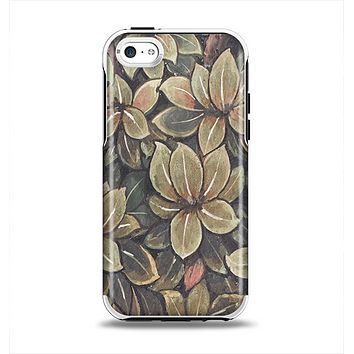 The Vintage Green Pastel Flower pattern Apple iPhone 5c Otterbox Symmetry Case Skin Set