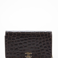 Chanel Vintage Brown Alligator Small Full Flap Bag
