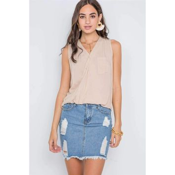 Taupe Surplice Neck Button Front Sleeveless Top