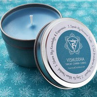 Vishuddha Throat Chakra Candle - Speak Up for Yourself, Share Your Value - Speak, Teach & Write