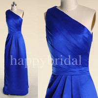 Long One Shoulder Royal Blue Prom Dresses A line Bridesmaid Dresses Party Dresses Formal Party Occasions 2014 High Quality