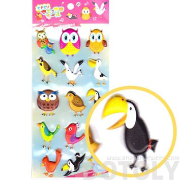 Super Puffy Owls Seagull Pelican Bird Themed Animal Shaped Stickers for Scrapbooking