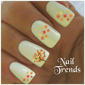 Leaf Nail Decals Leaves 20 Vinyl Stickers Autumn Nail Art