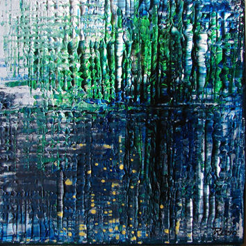 ORIGINAL Abstract Painting - impasto - artist Tatjana Ruzin Contemporary Abstract, - Sea Depths -impressionism blue and green