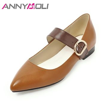 ANNYMOLI Flats Shoes Women Mary Jane Shoes Pointed Toe Plus Size 42 43 Buckle Strap Shoes Casual Ladies Flats Spring 2018 Yellow