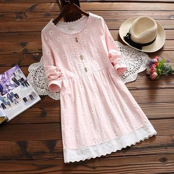 Japanese Vintage Retro Boho Sweet Cute Loose Floral Print Lace Ruffle Embroidery Cotton Linen Long Sleeve Spring Autumn Dress