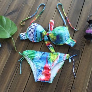 Retro Tie Dye Print Bikini Set Push Up Swimsuit