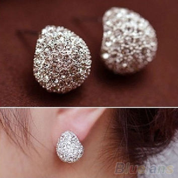 Fashion Women's Korean Style Crescent Moon Rhinestone Shining Stud Earrings = 1651428676