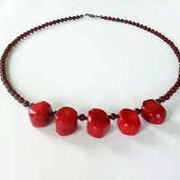 Red Bamboo Coral Beaded Necklace