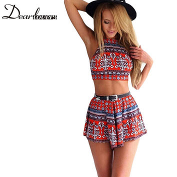 Aztec Tribal/Boho Cherry Red Pattern Print women two-piece outfits  Crop top and Shorts Set Hot sale 2016 Women clothing set