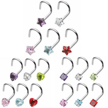 1Pcs Prong Set Zircon Nose Screw Rings Piercing Nose Studs Body Jewelry 20g Star&Heart&Square