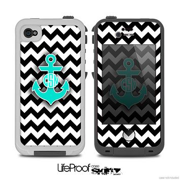 The Teal Green Monogram Anchor on Black & White Chevron Skin for the iPhone 4-4s LifeProof Case