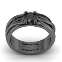 AMAZING 1.25CT BLACK ROUND 925 BLACK STERLING SILVER ENGAGEMENT AND WEDDING RING