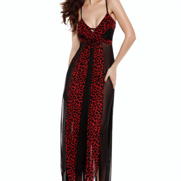 Red Mosaic Print Lingerie Dress